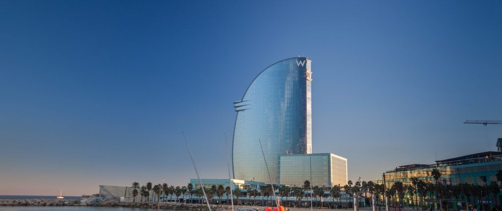 BARCELONA SPAIN - NOVEMBER 10 2015: W Barcelona Hotel also known as the Hotel Vela (Sail Hotel) on November 10 2014 in Barcelona Spain. Designed by Architect Ricardo Bofill it is 170 meters high.