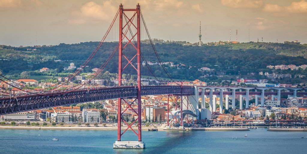 Lisbon Portugal-April 11 2015:The 25 de Abril Bridge is a bride connecting the city of Lisbon to the municipality of Almada on the left bank of the Tejo river Lisbon