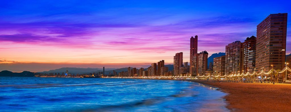 Benidorm skyline at sunset beach in Alicante of Apain