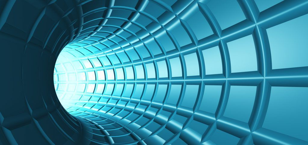 Web Tunnel - A radial tunnel with a perspective web like grid.