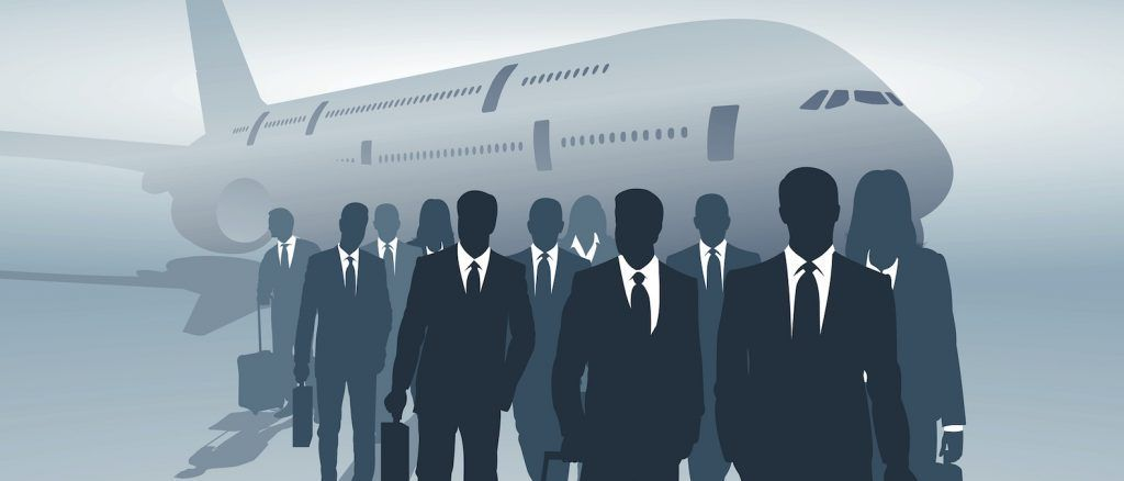 illustration of many business travelers leave the aircraft
