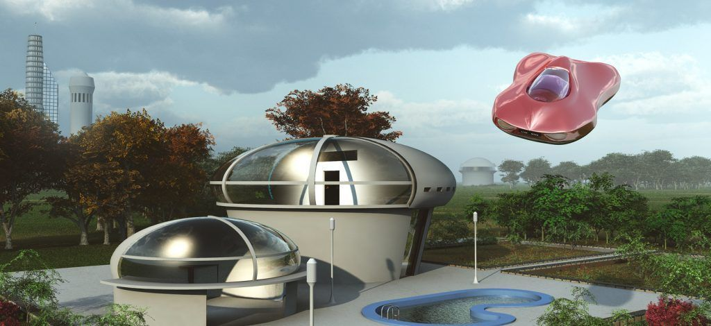 A futuristic suburban house and flying car