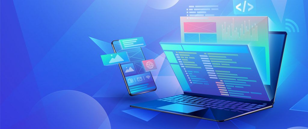 Mobile app development concept design cross platform user interface Laptop with virtual interactive screens processing, web interface design, software coding and programming languages