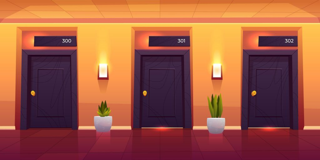 Rooms in hotel corridor, empty luxury hotel hallway interior with closed numbered doors, shining wall lamps, potted plants and tiled floor, motel or hostel hall background, Cartoon vector illustration