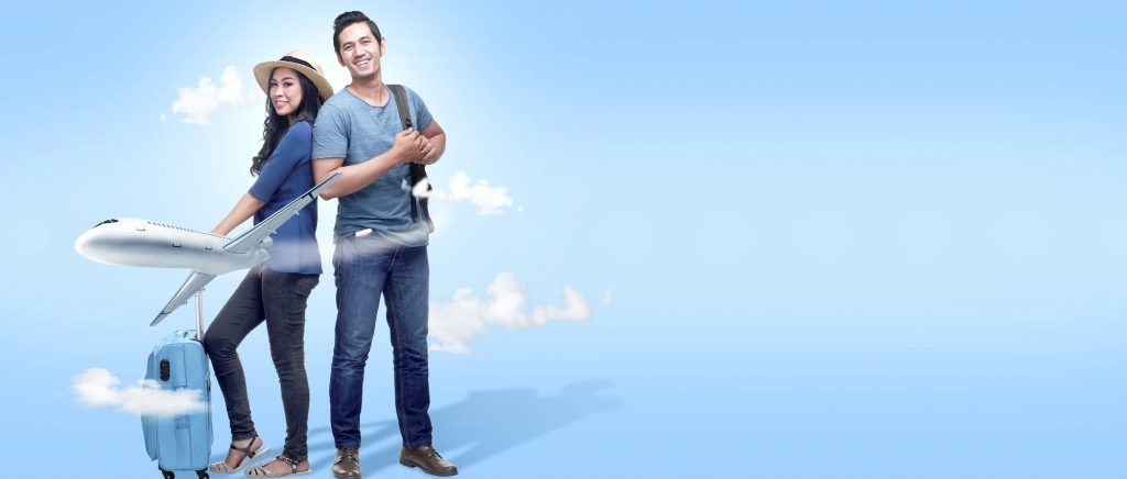 Asian couple with suitcase bag and backpack going traveling with airplane. Traveling concept